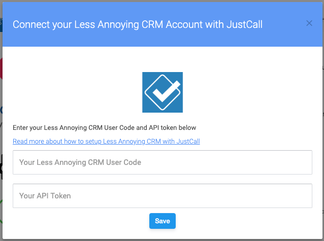 Less Annoying CRM justcall integration