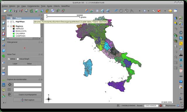 Visualización capa SpatiaLite