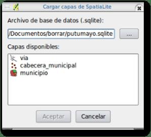 Interfaz de cargue SpatiaLite