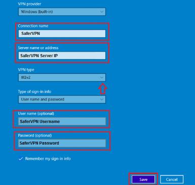 SaferVPN for Windows 10