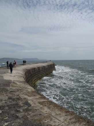 On the Cobb at Lyme Regis- Martin is right at the end, I was too scared to walk that far!