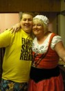 A saucy wench, with my son Richard, who took the lead role in Frankenstein, the panto!