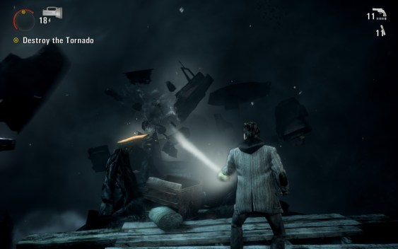Alan Wake Fights Tornado With Light