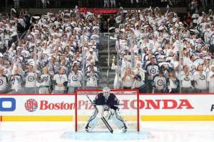 The whiteout was in full force in Winnipeg in the 2015 Stanley Cup Playoffs. Photo By: Jonathan Kozub/NHLI via Getty Images