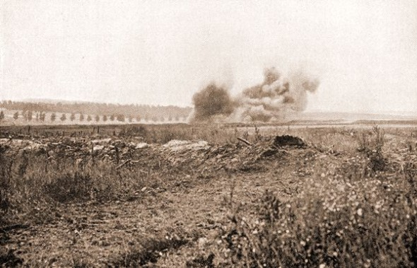 The Battle of the Somme: British shells explode on German positions