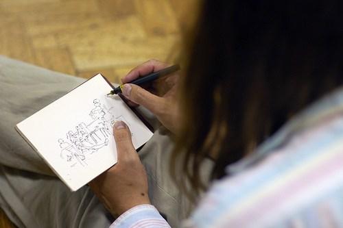Andy Konky Kru drawing at Caption 2008. Photo: The Glass Eye