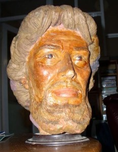 The head of Jesus sculpture used by Frank Hampson to create the Road of Courage visuals.