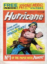Hurricane Issue 1. Cover star 'Typhoon Tracy' echoed the format of Valiant's popular 'Captain Hurricane'