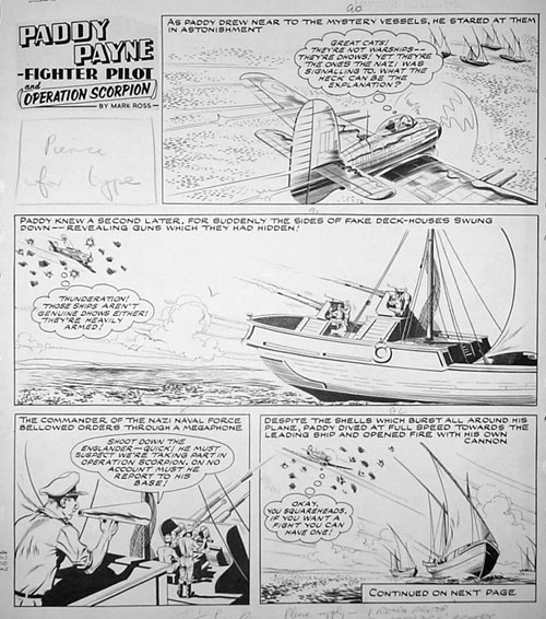 "A complete 3 page episode of Paddy Payne from the Lion comic dated May 24th 1958 from the story Operation Scorpion. THREE pages of rare ORIGINAL art. 16"" x 23"" (41cm x 58cm) Pen & Ink Board"