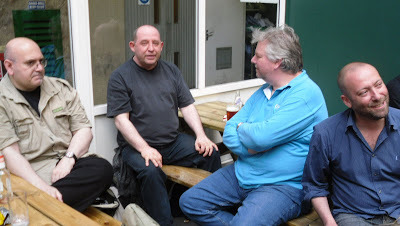 Martin (centre) with Hassan Yusuf (left), Theo Clarke (right) and Andrew Moreton (far right) at the Royal National Hotel Comic Mart, in Summer 2009