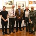 Commando crew at the exhibition's opening night. From left to right: Scott Montgomery (deputy editor), Calum Laird (editor), George Low (former editor), Ian Kennedy (artist) and Gordon Livingstone (artist).
