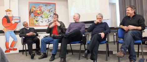 Comic artist David Sutherland, Digital Dandy editor Craig Ferguson, writer Dan McGachey, former Dandy editor Morris Heggie, and artist Stephen White