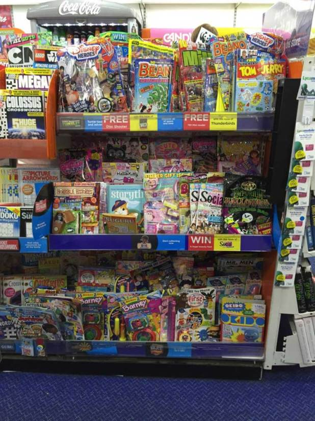 Comics on sale in WH Smiths Lancaster in October 2015. Teen titles such as 2000AD and Commando are racked in a separate section of the store.