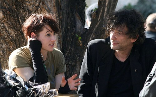 Amanda Palmer and Neil Gaiman during an interview for ORF radio before a concert at the Arena in Vienna, Austria.  Photo:  Manfred Werner