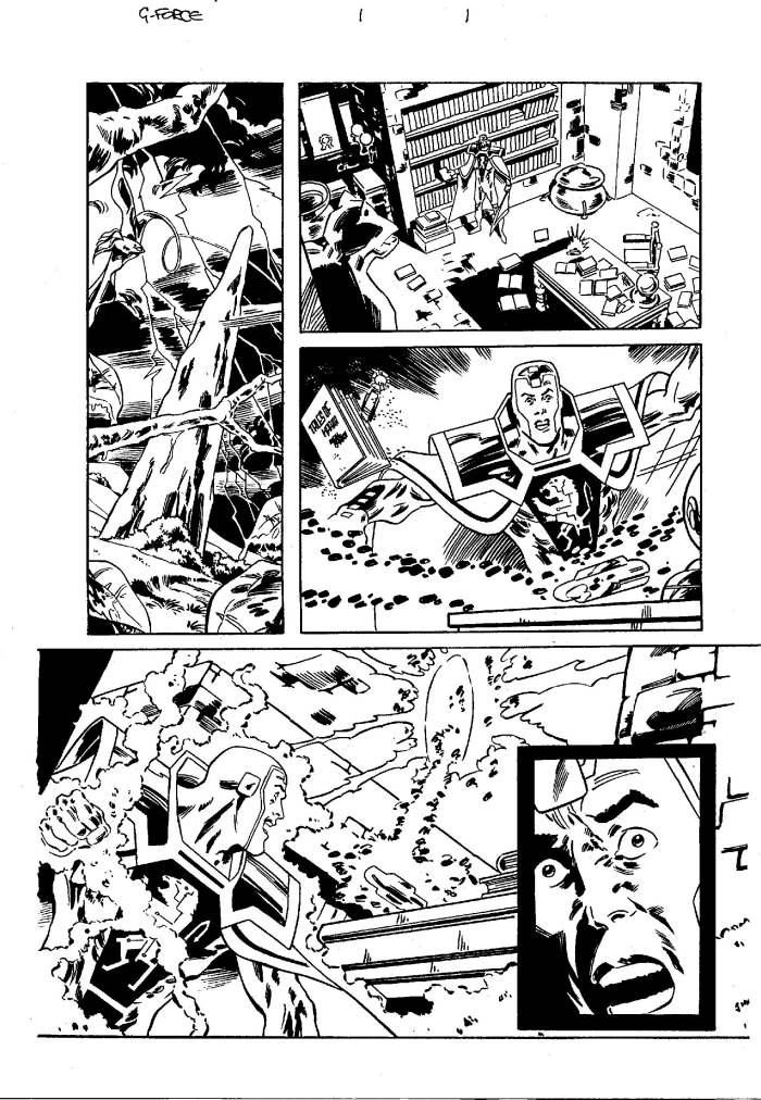 Unpublished art for a planned G-Force mini series from Marvel UK, scripted by John Freeman, art by John Ross