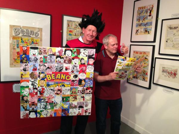 Bob Wilson and Gordon Tait with the paiting offered for auction. Photo: Sabrina Segalov