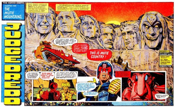 A Brian Bolland spread from 2000AD's Judge Dredd: The Cursed Earth