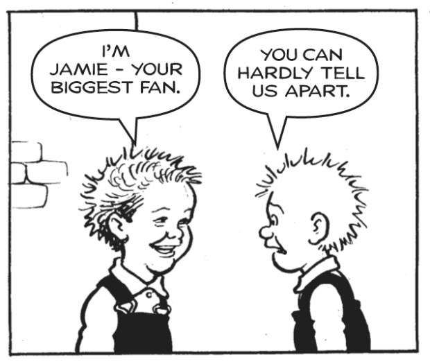 Oor Wullie meets Jamie Webster for the first time. Image © DC Thomson