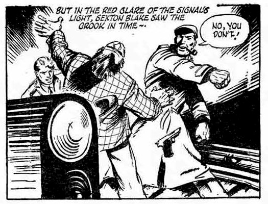 Sexton Blake and companion Tinker track down a villain in the London Underground in a story from the 1958 Knockout Annual.