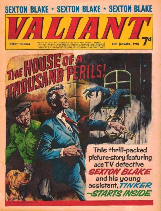 Sexton Blake on the cover of Valiant in 1968. Art by Mike Western.