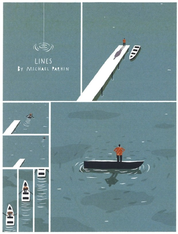 """A page from Michael Parkin's runner up story. """"Lines"""". Art © Michael Parkin"""