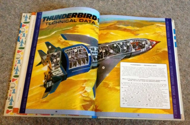 One of Graham Bleathman's cutaways featured in the collection - all five Thunderbirds get the schematic treatment, as do key vehicles and locations.