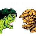 "One of Simon Williams' original ""Hulk versus Thing"" artworks. Artwork © Simon Williams. Hulk, Thing © Marvel Comics"