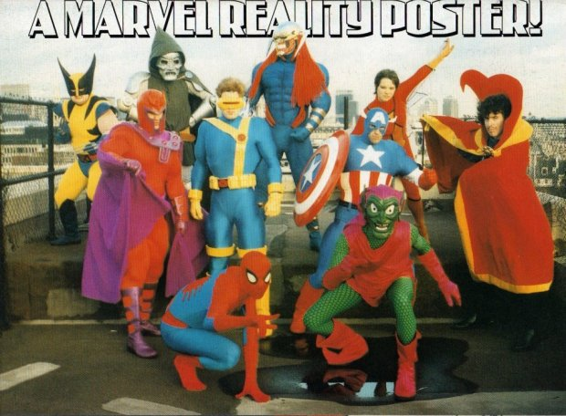 All work and no play makes Marvel UK dull... Pictured are David Leach, Alan Cowsill, Bryan Hitch, Liam Sharp, Liam Sharp, Stuart Bartlett, Bambos Georgiou and Christina McCormack, in their costumes for the Lord Mayor's Show in 1993.