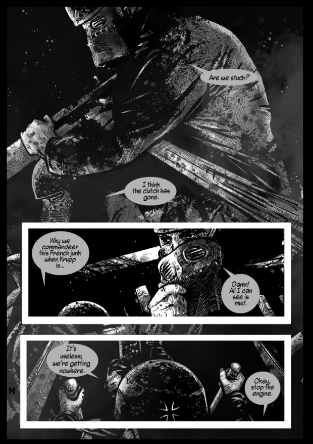 "A page from ""Between the Darkness"" - story by Petri Hänninen and art by Neil McClements."