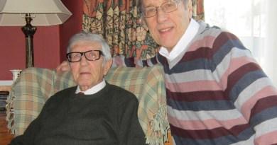 Veteran British comic artist John Gillatt with writer and editor Barrie Tomlinson, January 2014. Photo courtesy Barrie Tomlinson