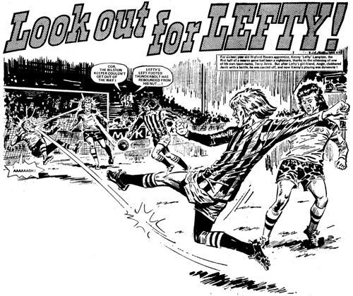 "An opening panel from ""Look out for Lefty"", drawn by Tony Harding, the controversial strip that featured in Action in the 1970s."