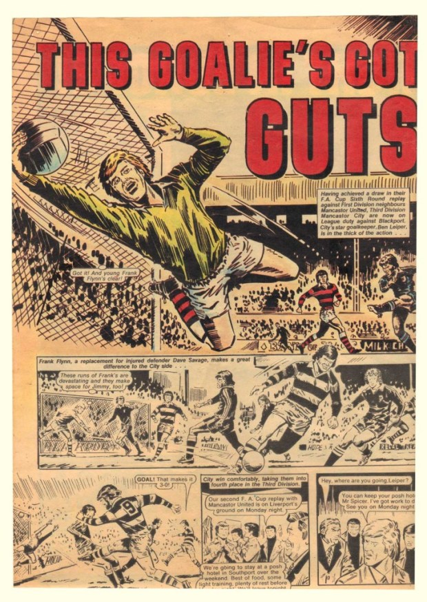 """A published page of """"This Goalie's Got Guts"""" for Scoop."""