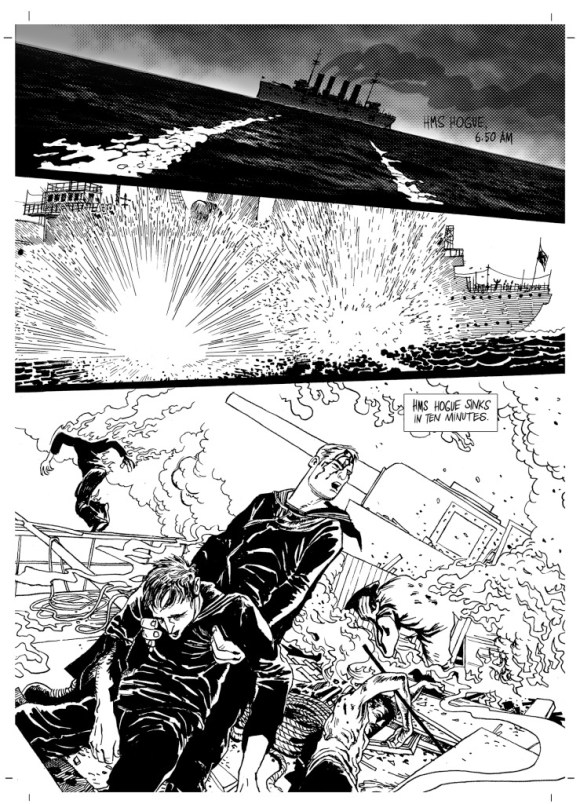 """A page from """"Dead in the Water"""" for To End All Wars. Story by Ian Douglas. Art and letters by Stjepan Mihaljevic"""