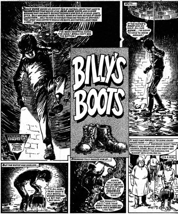 """A page of """"Billy's Boots"""" by John Gillatt from Lion and Tiger, 28th September 1985."""