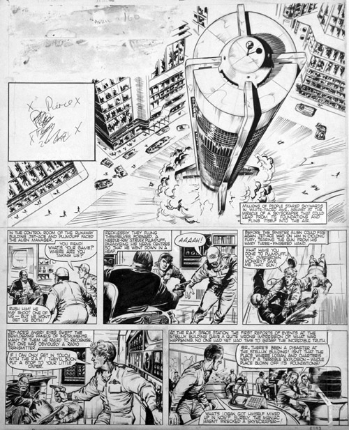 """A page of """"Jet Ace Logan"""" drawn by John Gillatt that featured in Tiger, cover dated 2nd April 1960."""