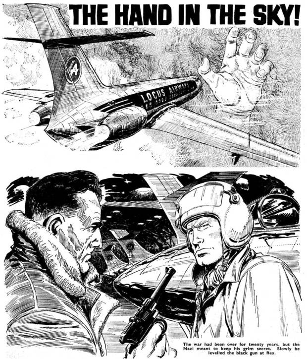 """Spot illustrations for """"The Hand in the Sky"""", a text story for Tiger (2nd October 1965)."""