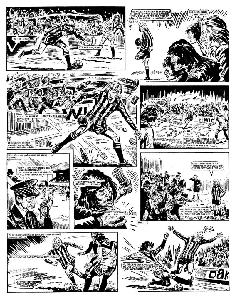 """A controversial page from """"Look out for Lefty"""" which contributed to the furore over Action and eventually saw the comic banned. Art by Tony Harding."""