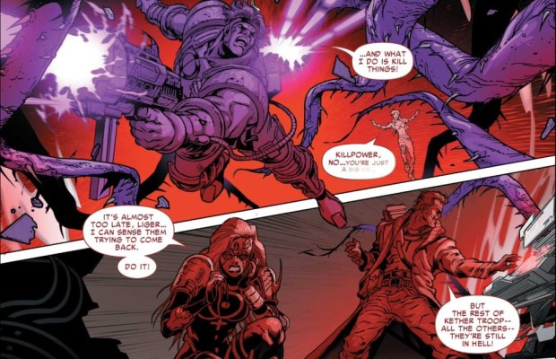 Motormouth's partner Killpower is lost in an otherworldly dimension in a flashback scene in Revolutionary War: Alpha. © Marvel Comics