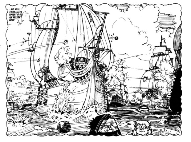 """A panel from """"Spoofer McGraw"""" for the Sparky Book, 1972, drawn by Gordon Bell."""