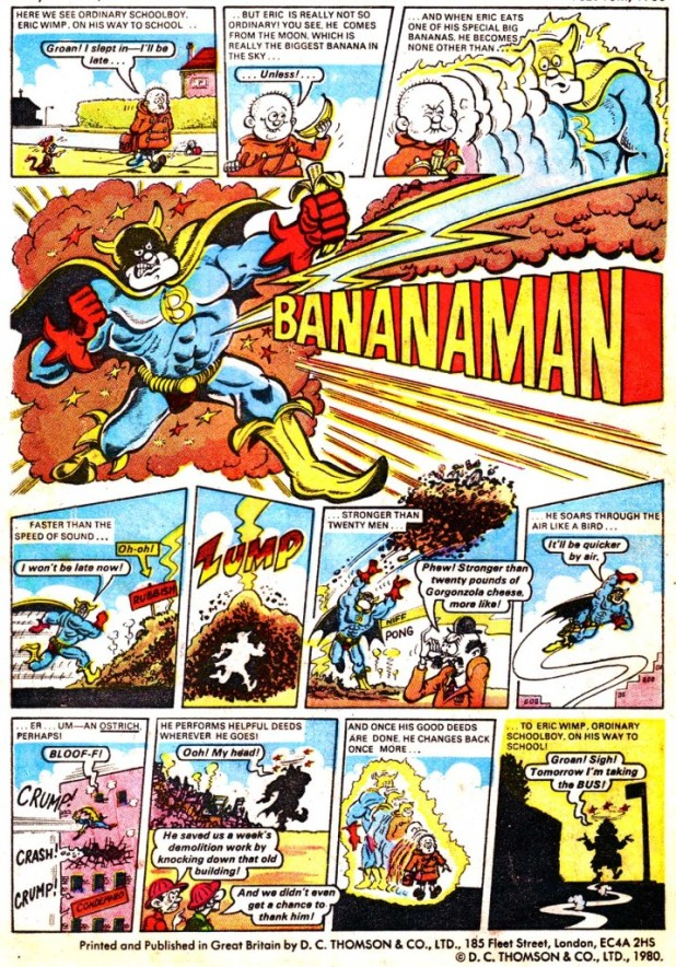 Bananaman's first appearance, in Nutty Issue 1 in February 1980. Art © DC Thomson.