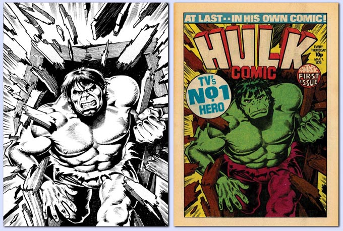 Brian Bolland's art for Hulk Issue 1 and the final, published version, adapted by Paul Neary at Dez Skinn's instruction. Via Dez Skinn's web site.