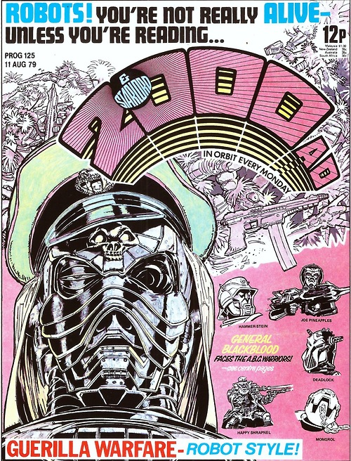 The ABC Warriors first appeared in 2000AD Prog 125. Cover by Mick McMahon. © Rebellion