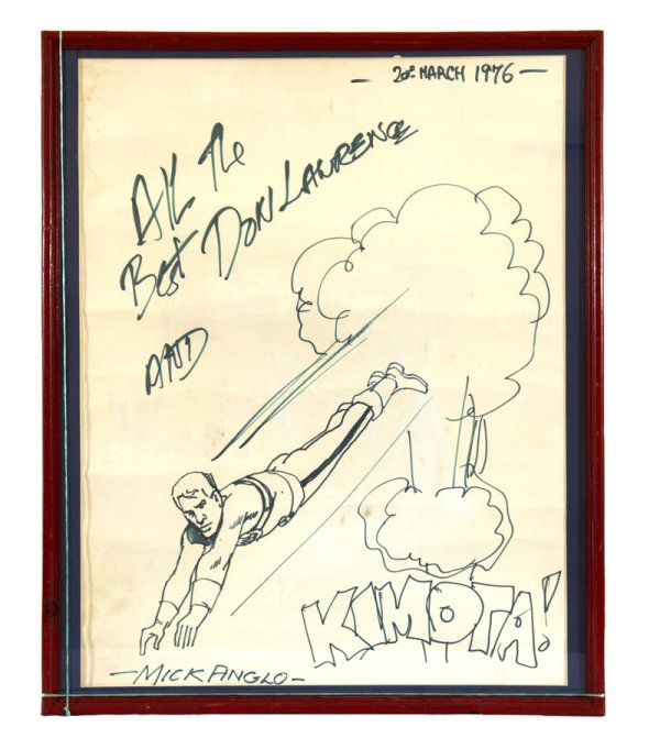 A Marveleman sketch by Mick Anglo, also signed by Don Lawrence