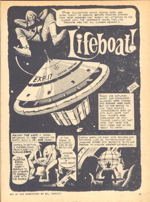 "The opening page from a Creepy story, ""Life Boat"" drawn by Ken Barr."