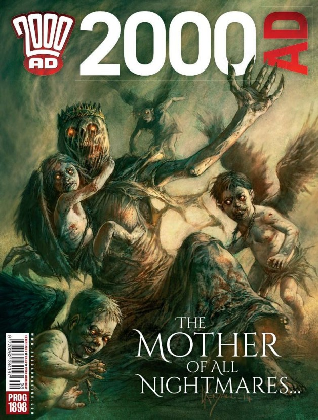 The cover of 2000AD Prog 1898 by Dave Kendall, featuring the new Carnifex hunting down Aquila.