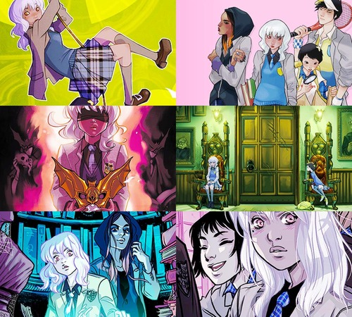 A montage of art from DC Comics Gotham Academy.