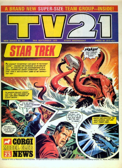 """A dramatic """"Star Trek"""" story features on the cover of this issue of a later edition of TV21."""