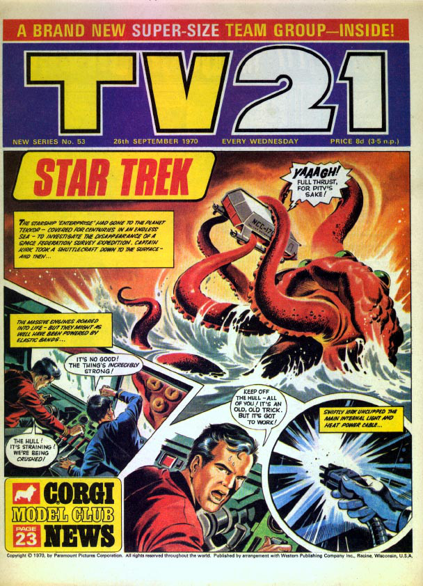 "A dramatic ""Star Trek"" story features on the cover of this issue of a later edition of TV21."