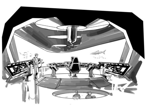 "Design work by Lee Sullivan of ""Ocean Storm"" for the Gerry Anderson Firestorm project."