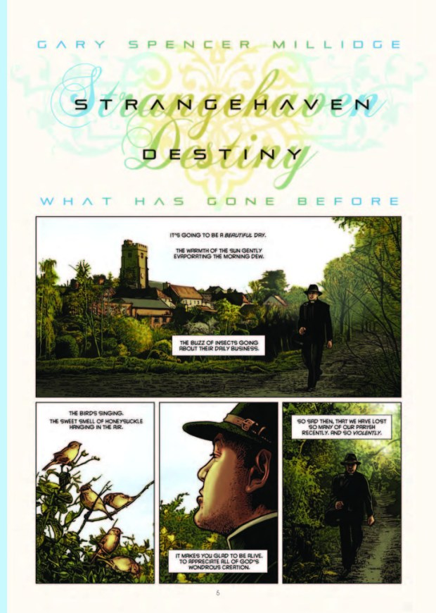 The opening page from Strangehaven: Destiny by and © Gary Spencer Millidge